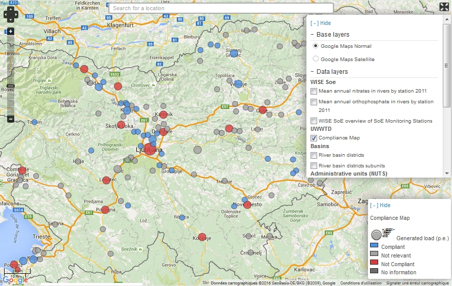 Visualisation Cartographique - UWWTD Agglomerations - Compliance map